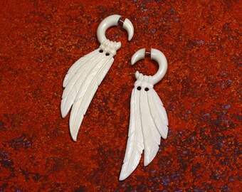 Fake Gauge, Ansel Wings, Tribal Earrings, Faux Gauges, Split, Cheaters, Handmade, Organic, Plugs, White Bone - B03