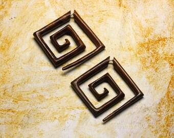 Fake Gauges - Large Square Tribal Spirals - Organic Wood Earrings