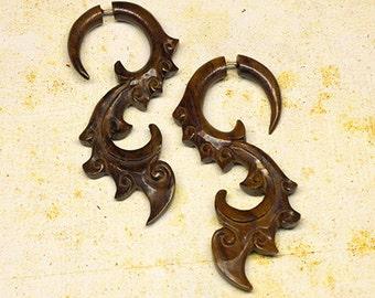 Fake Gauges, BOHO Earrings, TribalStyle, Organic Earrings, Fake Gauge Earrings, Cheaters, Split, Fake Plugs, Faux Gauges, Wood Earrings - W9
