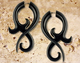 Allure Twists, Fake Gauges Earrings, Black Horn Jewelry, Tribal Jewelry, BOHO Earrings, Fake Gauges, Eco Friendly, Organic Earrings, H23