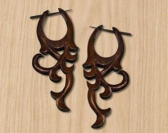 Post Earrings - Hanna Curls -  Wood Carving - WP01