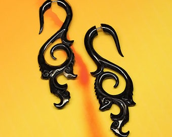 Fake Gauge Earrings, Coastal Curls, Organic Horn, Fake Gauge, Handmade, Tribal Jewelry, Cheaters, Split, Eco-Friendly, BOHO, Black Horn, H10