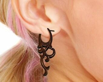 Post Earrings - Hanna Curls - Tropical  Wood Carvings - WP01