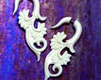 Fake Gauges, Helens Curls, Tribal Earrings, Split, Expanders, Fake Plugs, Organic, Cheaters White Bone Earrings - B09