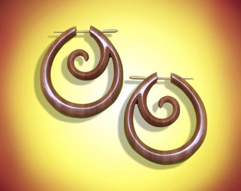 Post Earrings, Oceania Hoops, Tropical Wood, Fake Plugs, Organic, Eco Friendly, Tribal Earrings - WP5