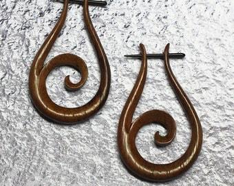 Tribal Post Earrings, Wood Hoop Earrings, Tribal Earrings, BOHO Earrings, Organic Earrings, Gypsy Earrings, Wood Post Earrings, WP2