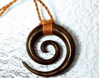 Wood Pendant - Double Spiral Necklace - P02