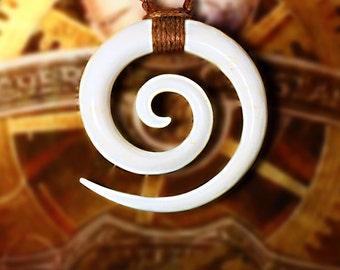 Tribal Pendant, White Bone Pendant, Tribal Jewelry, Eco Friendly, Double Spiral Necklace, Gypsy Pendant, BOHO, White Bone Pendant P03