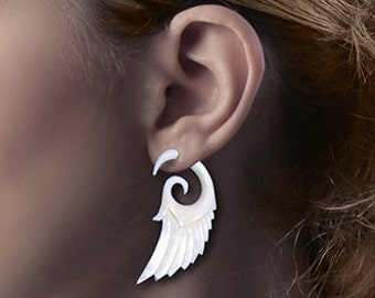 Fake Gauge, Tribal Earrings, Angel Wings, Eco Friendly, Bone Earrings, Handmade, Cheaters, Split, Plugs - B02