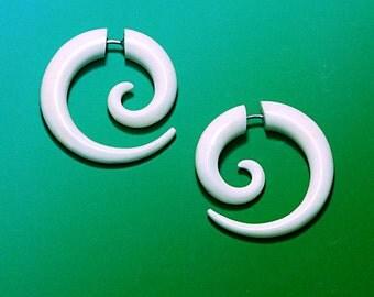 Fake Gauge, Tribal Earrings, Cheaters, Organic, BOHO, Handmade, Eco Friendly, Split, Hoops - Small Bone Spirals Hoops - B14