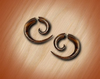 Fake Gauges, Small Spiral, Wooden Earrings, Handmade, BOHO, Organic, Split, Fake Plug, Eco Friendly, Tribal Earrings, Expander - W11