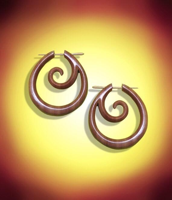 Post Earrings, Oceania Hoops, Tropical Wood, Fake Plugs, Organic, Eco Friendly, Tribal Earrings - WP5