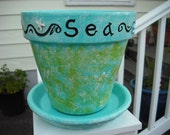 """OCEAN themed GARDEN Flower POT - Handpainted Ocean Themed Decor - Embellished with matching clay saucer - """"Sea Life"""" - Treasury Item"""