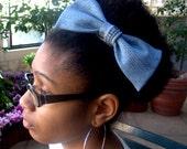 Large Light Blue Denim Hair Bow