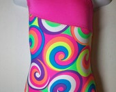 gymnastics leotard -toddler girls sizes 2,3,4.  A-symetrical strap pink and neon multi swirl