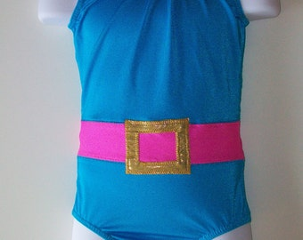 80's workout gymnastics leotard. 80's workout inspired Leotard with belt. Available in girls sizes 2 through 13.