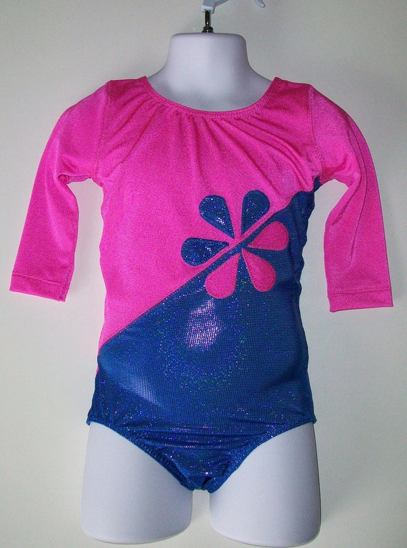 gymnastics leotard - Hot Pink and hologram Blue with flower applique and 3/4 sleeves, available in girls sizes 2 through 13.