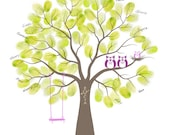 Baby Shower Thumbprint Tree Guest Book Alternative - Nursery Wall Art - Custom Print with Owls & Swing - 11x14 inches - 40-70 Thumbprints