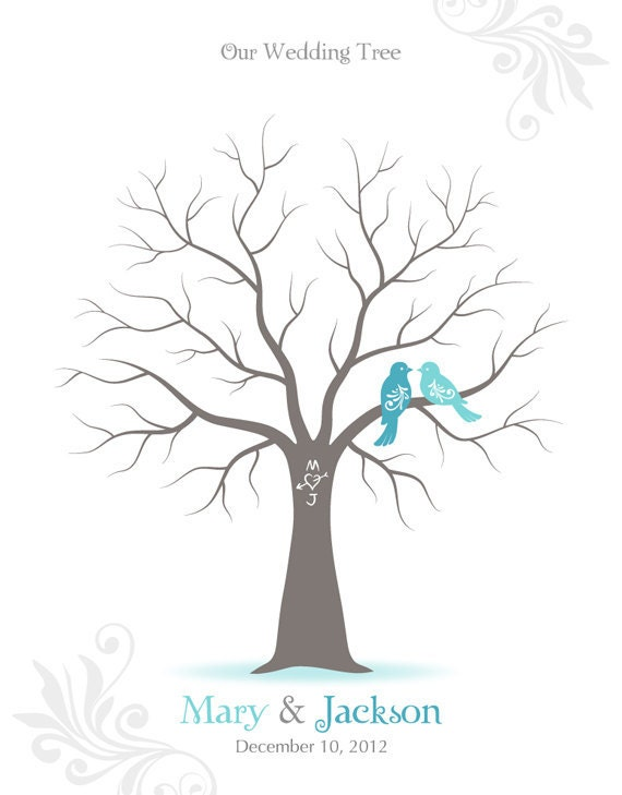 Fingerprint Wedding Tree Guest Book Poster - Engagement Tree Guestbook Alternative Print - 11x14 inches - 40-70 Thumbprints