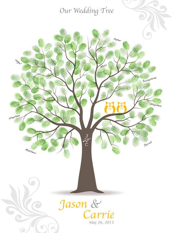 items similar to thumbprint wedding tree guest book
