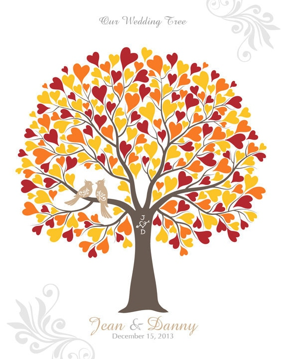 Wedding Tree with Love Birds Guest Book Poster by TJLovePrints