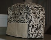 Mixer Cover- Black and Cream with Burlap