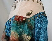 Reserved for Amanda Light-Beige Suede Tribal Fusion/Tribaret Belly Dance Belt with Crushed Velvet , Rust/Teal Lace, Coins & Sequins