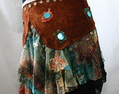 Rust-Coloured Suede Tribal Fusion/Tribaret Belly Dance Belt with Rust/Teal Lace, Coins & Sequins