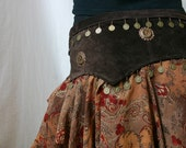 Reserved for Amanda Dark Brown Suede and Chiffon Tribal Fusion/Tribaret Belly Dance Belt with Antique Brass Metal Coins