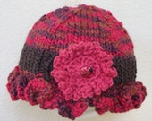Ruffle Hat with Flower and Ladybug - Organic Cotton - Hand Knit Hat