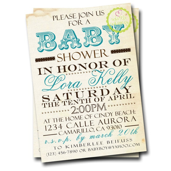 Vintage Subway Art Baby Shower Invitation (Choice of Colors) - CUSTOM - by Whittle Whimsy