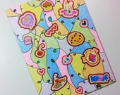 ACEO - My Little Pony G4 Cherry Pie Stickers & Original Abstract Glitter Design