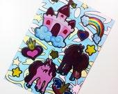 ACEO - Kawaii Pony Castle Rainbow Heart Crown Star - Stickers & Stencil Glitter Design
