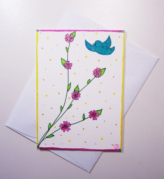 ACEO - Cherry Blossoms & Blue Bird - Original Art