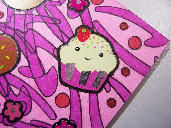 ACEO - Kawaii Pink Sweets Candy - Stickers & Stencil Glitter Design