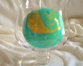 Round Blue Green and Orange Marbled Candle