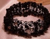 Black Wire Woven Cuff Bracelet Glass Beads Cross