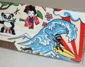 """Fabric Checkbook Cover With Vinyl Covering  Made with Cotton Fabric with Cute Characters """"Ivory"""""""