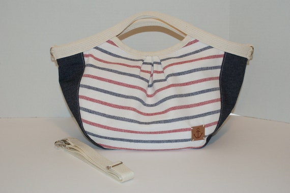 SUMMER SALE Two Way Granny Bag / Tote Made Wth Nautical Border Stripe - Tri-Color With Shoulder Strap
