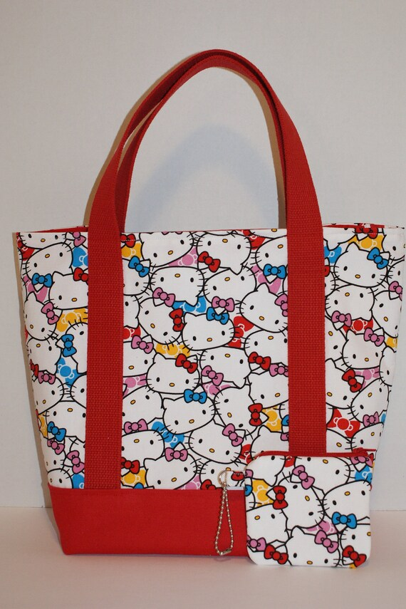 """Tote Bag with Zipper Pouch Made with Fabric """"Hello Kitty - Faces"""" Colorful"""