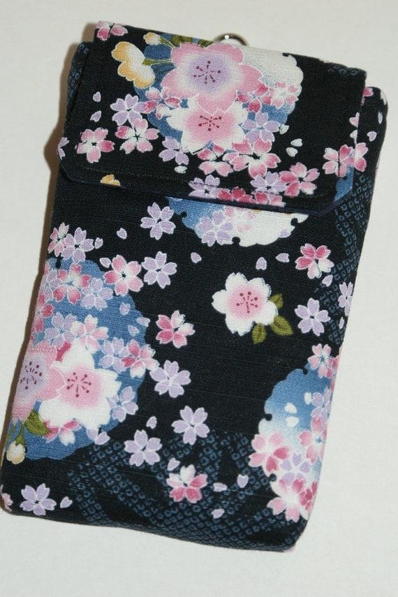 "Cell Phone Sleeve/Case with Belt Loop and Inner Pocket Made with Japanese Wagara Fabric ""Sakura Temari"""