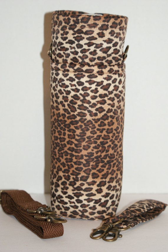 "Insulated and Water Repellent  Water Bottle Holder with Interchangeable Handle/Strap  ""Leopard Print"""