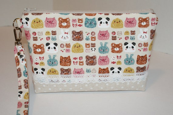 """Large Padded Zipper Wristlet Pouch/ Pencil Case/ Cosmetic Bag  Made with Fabric """"Animal Faces"""" with Cotton Linen Bottom"""