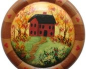 Saltbox Button Pin Autumn Fall Thanksgiving  Primitive Teacher Hand Painted Wood