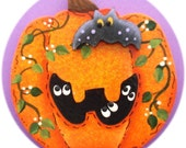 Halloween Pumpkin Ghost Pin/ Magnet Hand Painted Wood