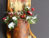 Primitive Christmas Stocking Rusty Can Hand Painted Wood