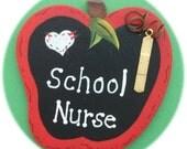 School Nurse Apple Shape Pin Wearable Hand Painted Wood