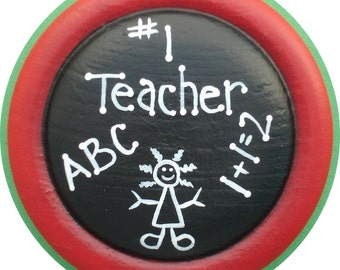 Teacher Button Pin Brooch Hand Painted Wood Gift