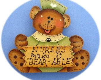 Nurse Bear Pin, Green Hand Painted Wood