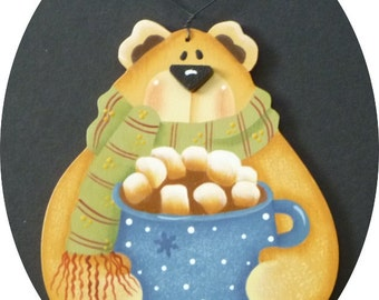Bear Coco Christmas Ornament Blue Scarf Hot Chocolate Hand Painted Wood